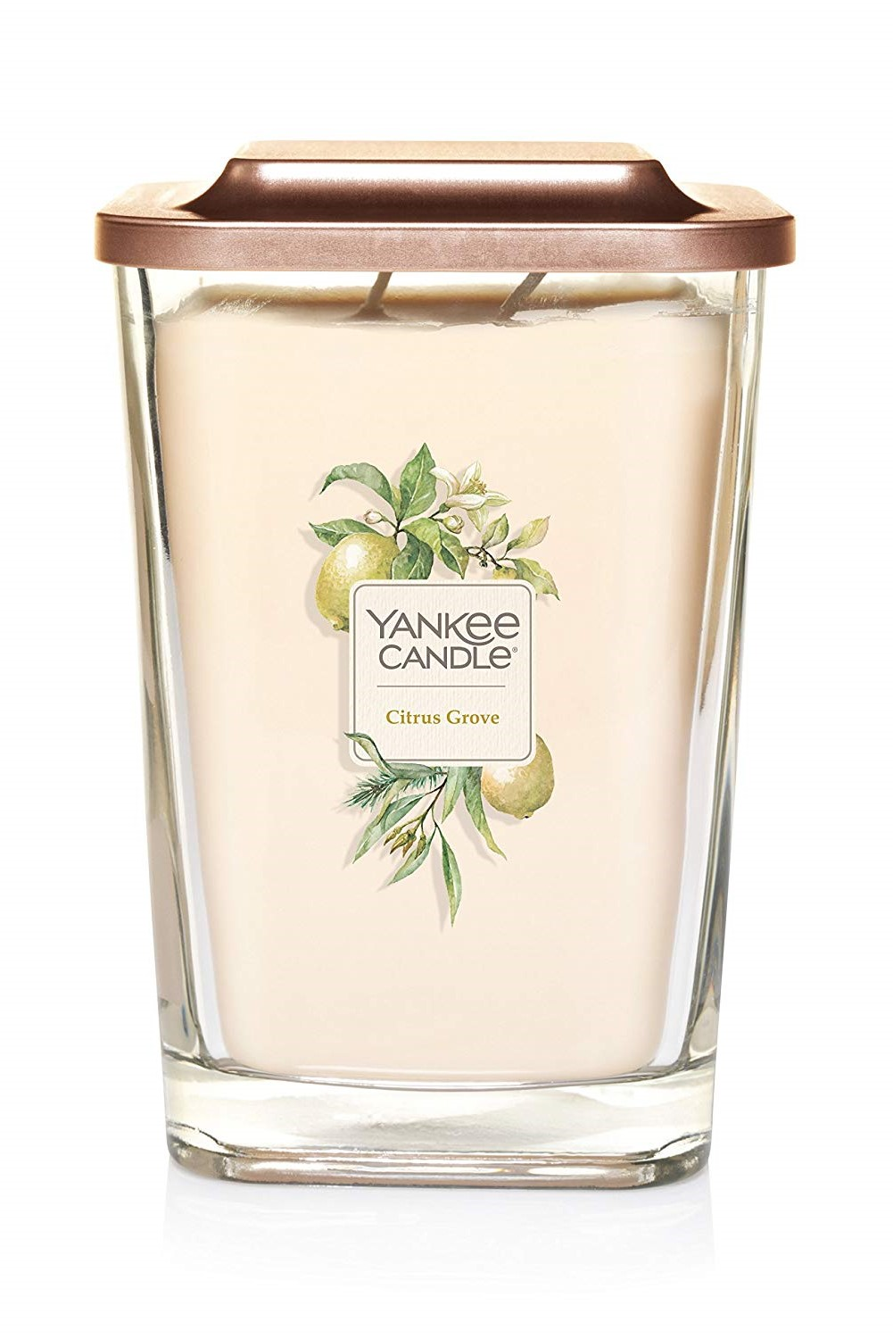 Yankee Candle yellow fragrant candle Elevation Citrus Grove large square 2 wicks