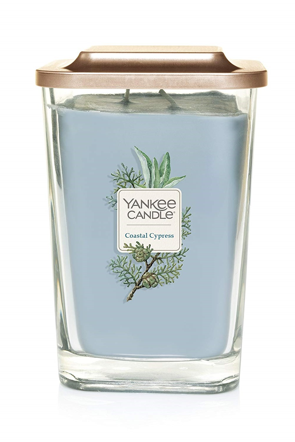 Yankee Candle blue fragrant candle Elevation Coastal Cypress large square 2 wicks