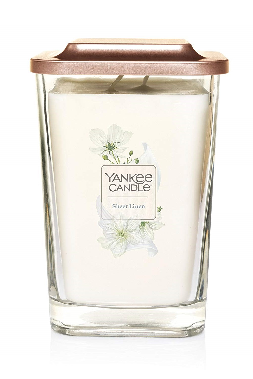 Yankee Candle cream / cream fragrant candle Elevation Sheer Linen large square 2 wicks