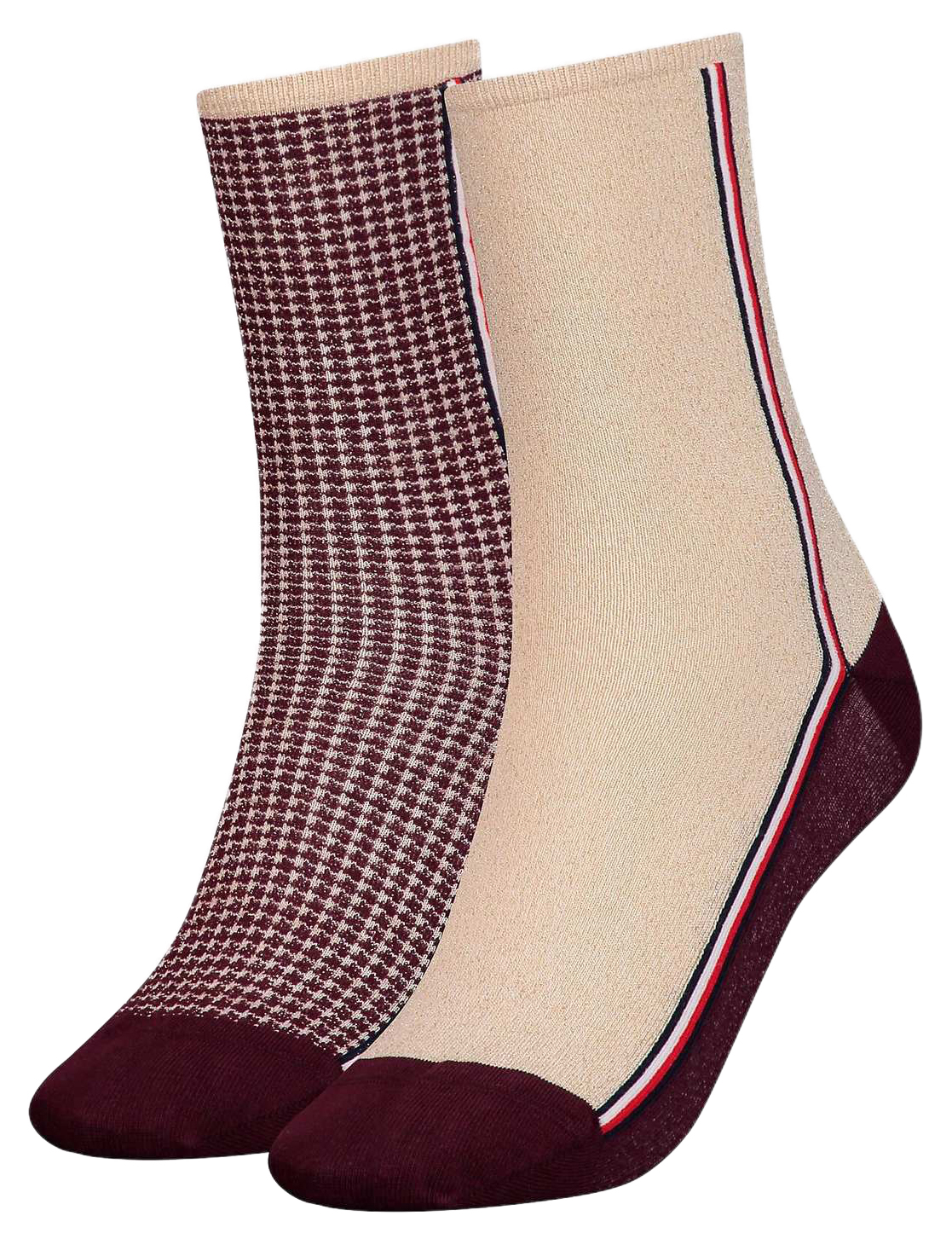 Tommy Hilfiger 2 pack socks TH Women Sock 2P Houndstooth Lurex