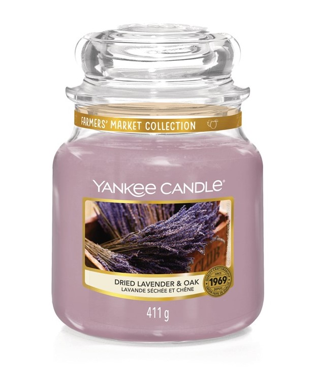 Yankee Candle purple fragrant candle Dried Lavender & Oak Classic Medium