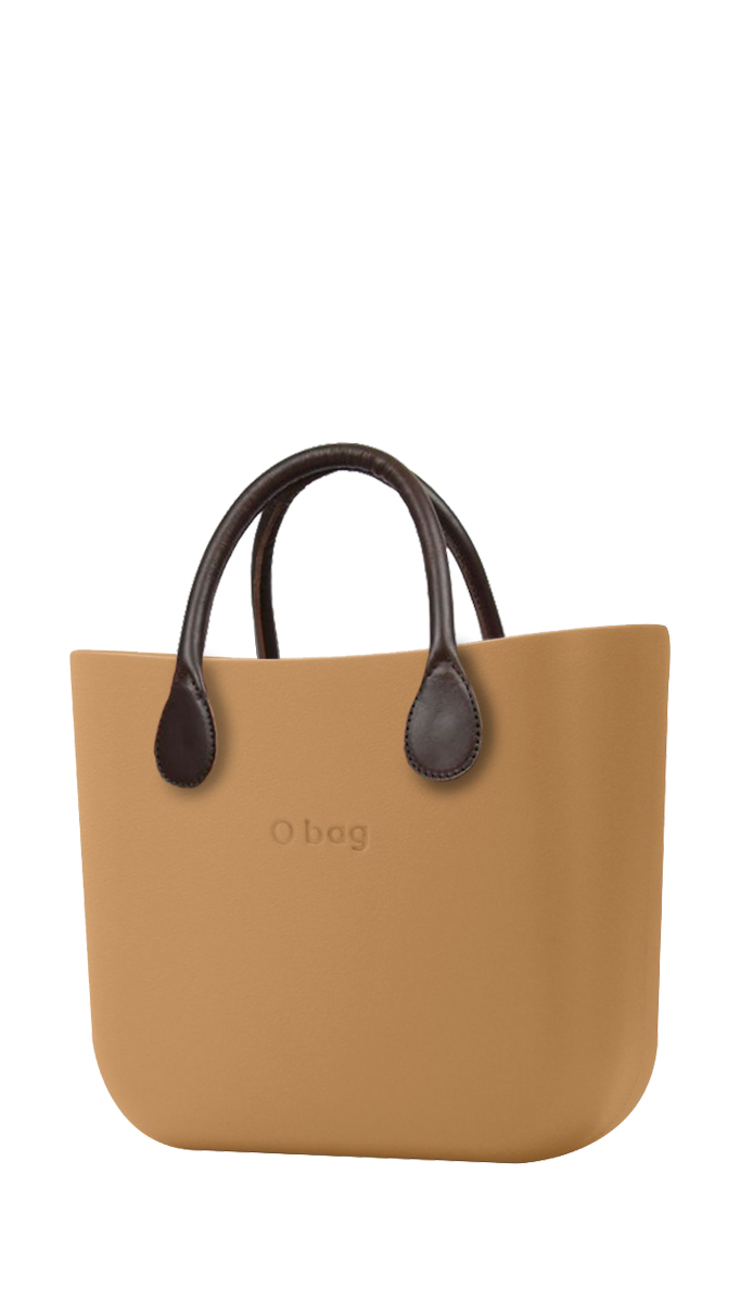 O bag  caramel handbag MINI Biscotto with short brown leatherette straps
