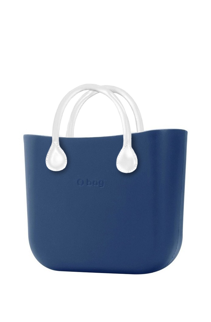 O bag  blue handbag MINI Bluette with short white leatherette straps