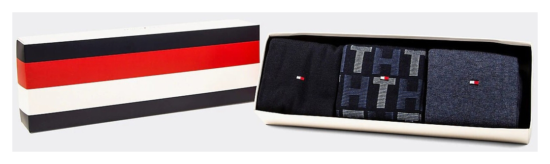 Tommy Hilfiger 3 pack socks TH Men Mixed Stripes Giftbox 3P