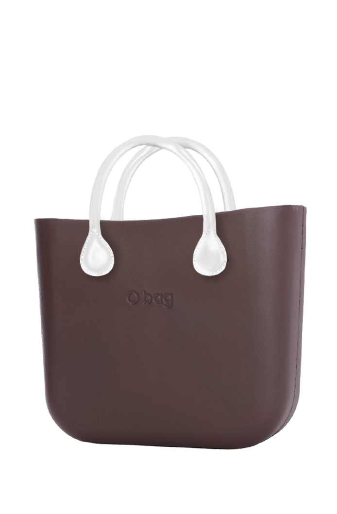 O bag  brown handbag MINI Chocolate with short white leatherette straps