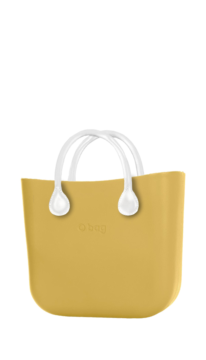 O bag  yellow handbag MINI Curry with short white leatherette straps