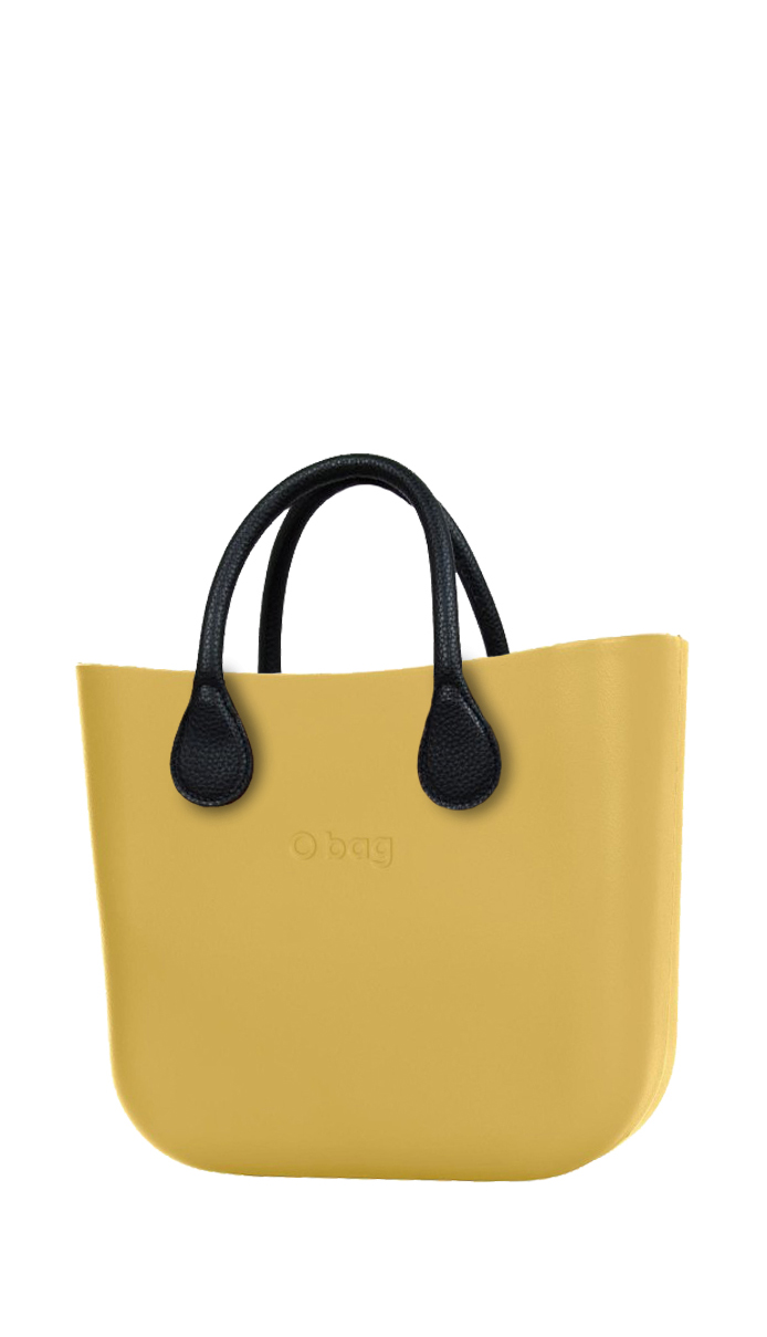 yellow handbag MINI Curry with short black leatherette straps