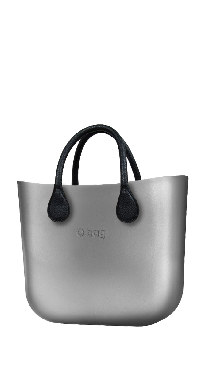 O bag  silver handbag MINI Silver with short black leatherette straps
