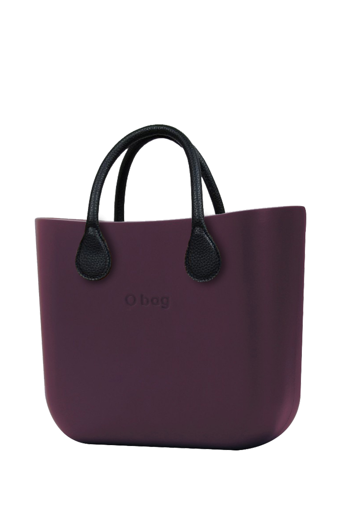 O bag  purple handbag MINI Melanzana with short black leatherette straps