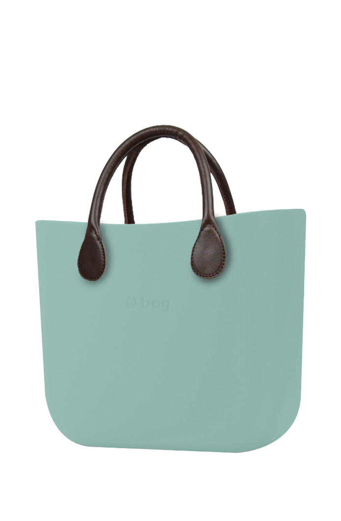 O bag  turquoise handbag MINI Turchese with short brown leatherette straps