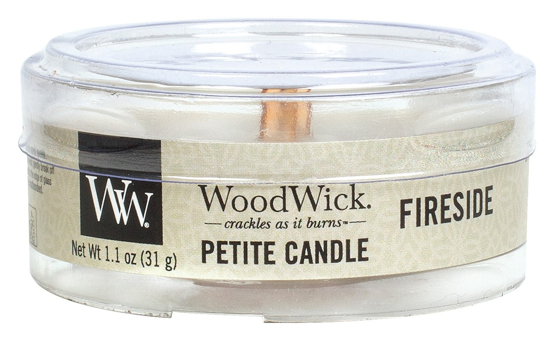 WoodWick grey fragrant candle Petite Fireside