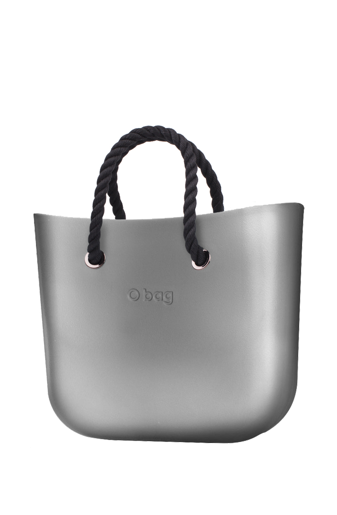 O bag  grey handbag MINI Silver with short black strings