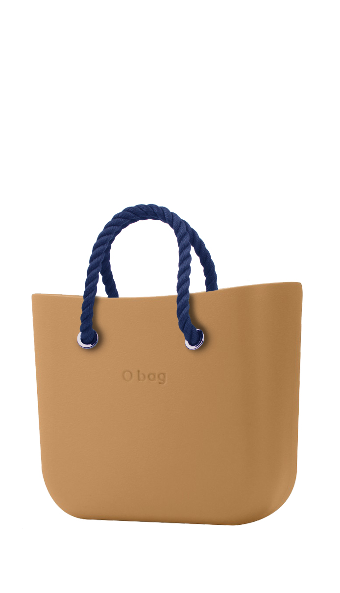 O bag  caramel handbag MINI Biscotto with short dark blue strings