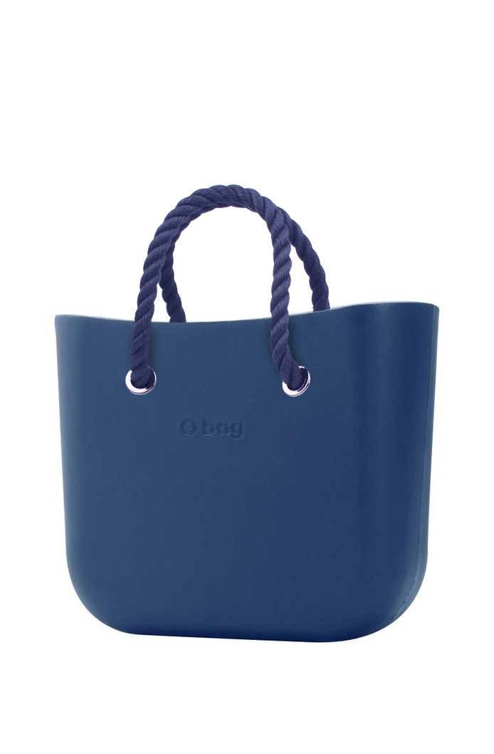 O bag  blue handbag MINI Bluette with short dark blue strings