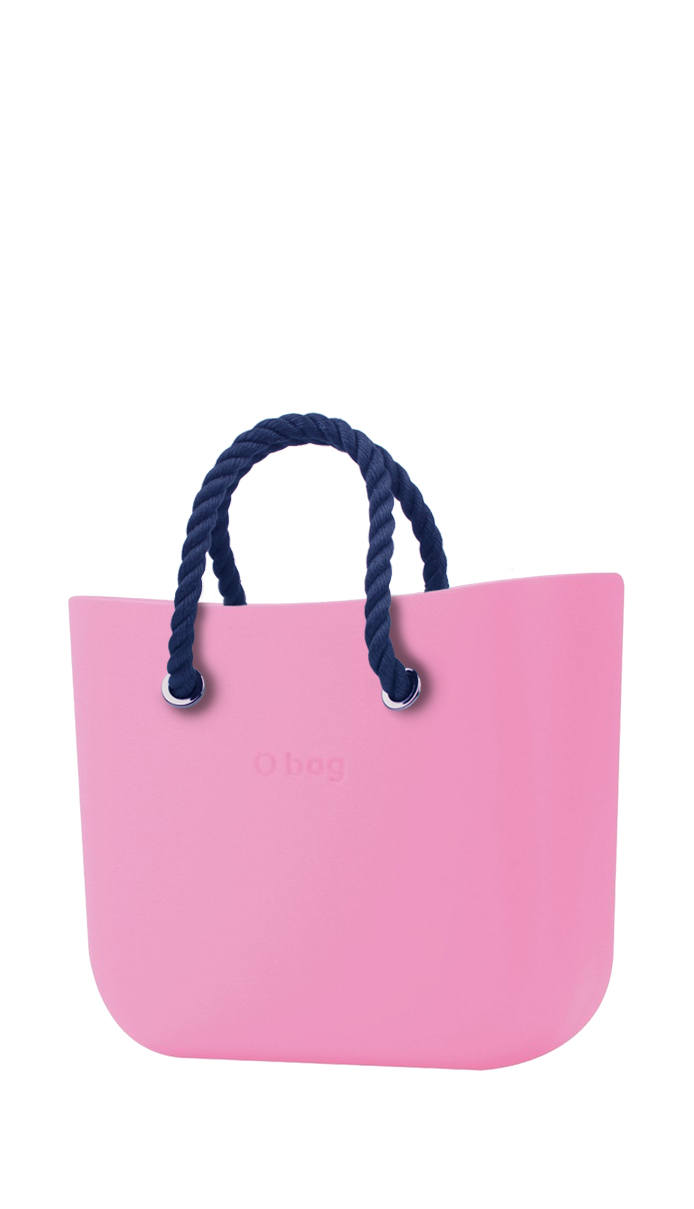 O bag  pink handbag MINI Pink with short dark blue strings
