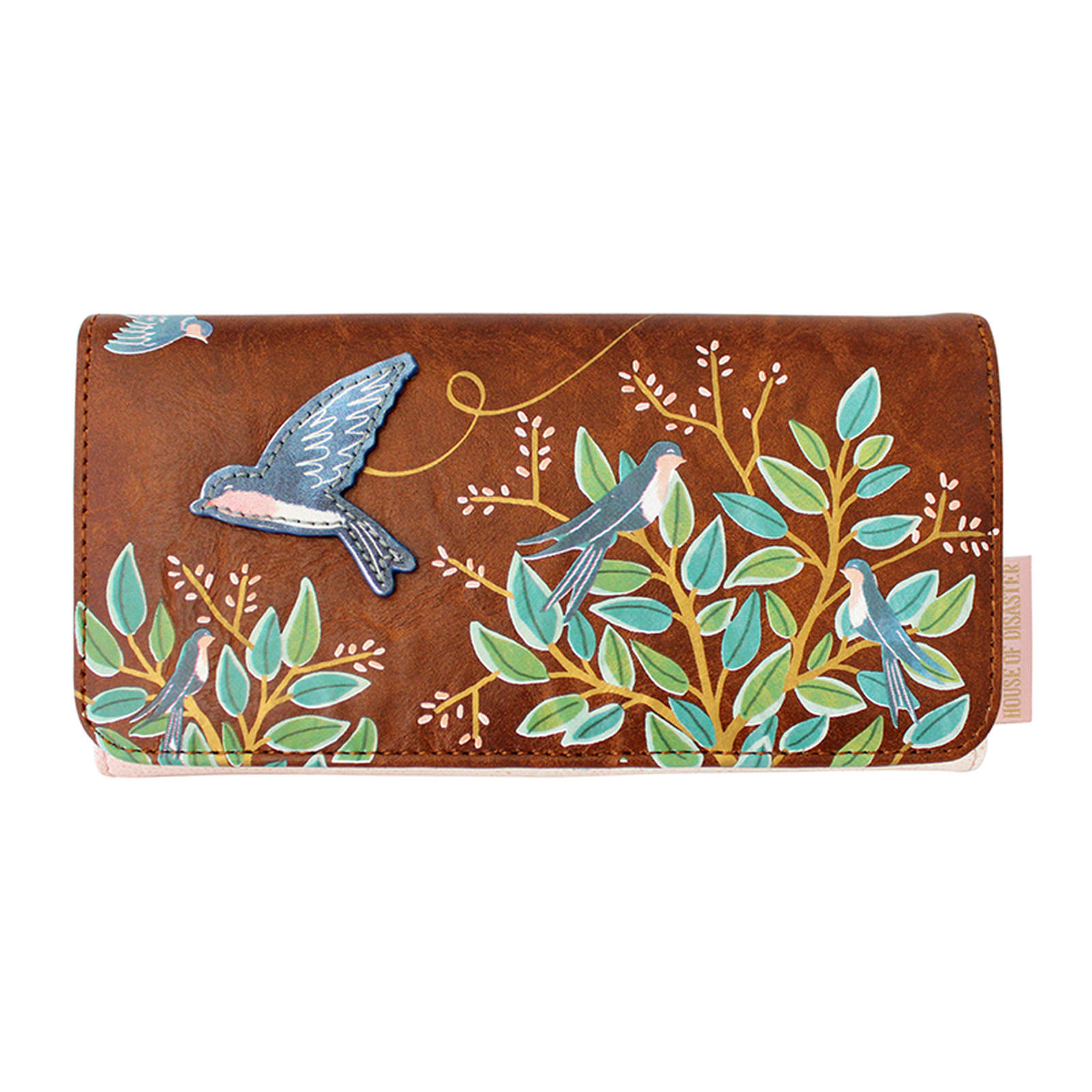 Disaster brown wallet Secret Garden Bird Wallet