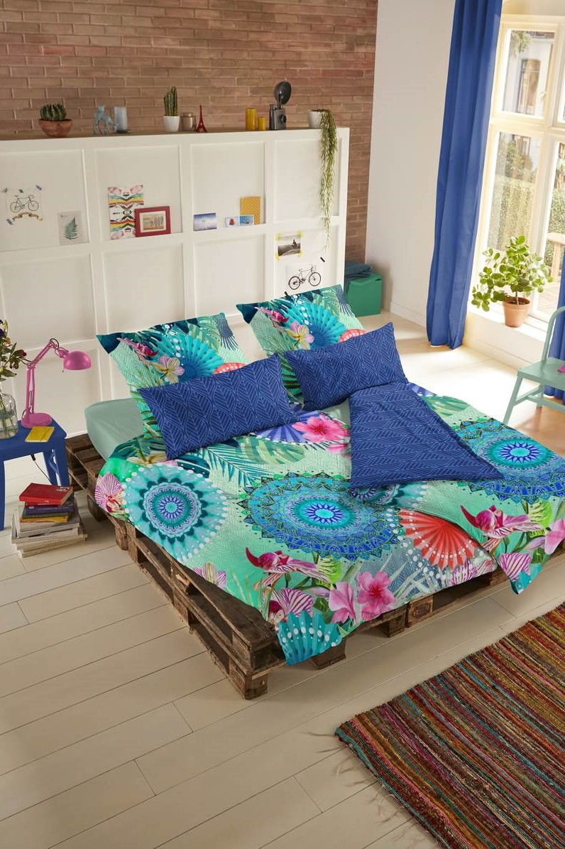 Home multicolor double-sided French bed linen HIip Fiorenza 200x200 / 220cm