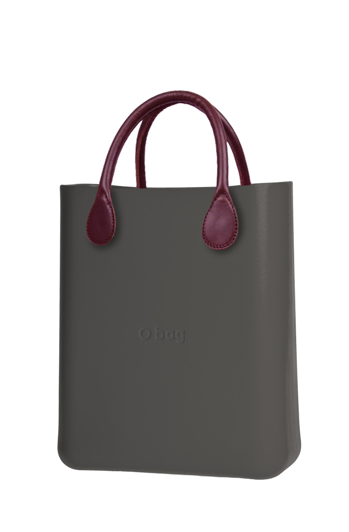 O bag  grey handbag O Chic Grafite with burgundy short leatherette handles