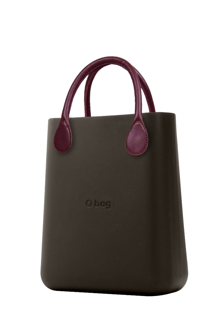 O bag  handbag O Chic Testa di Moro with burgundy short leatherette handles