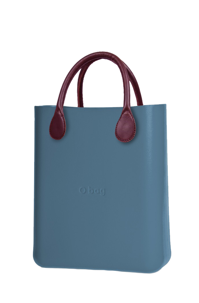 O bag  blue handbag O Chic Carta Zucchero with burgundy short leatherette handles