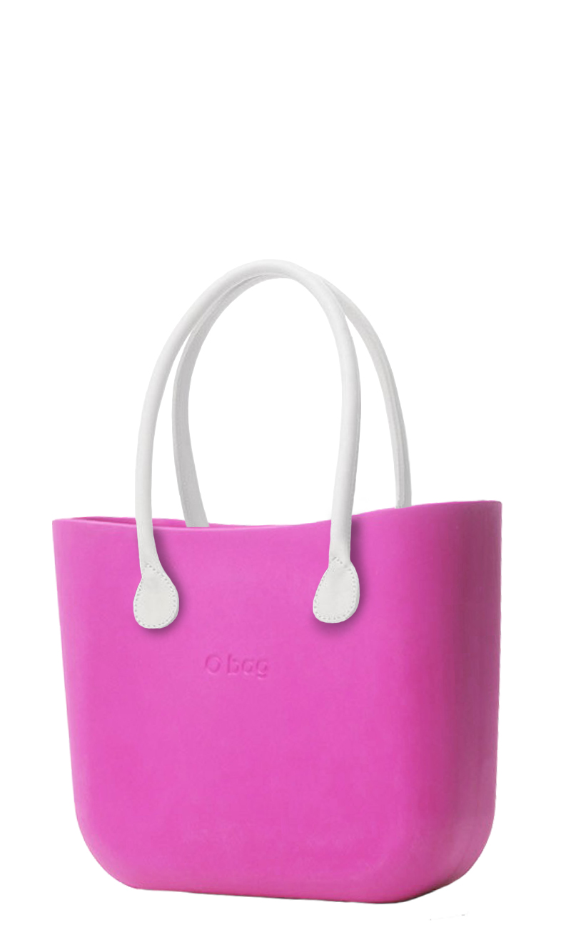 O bag  pink handbag Violetto with long white leatherette straps