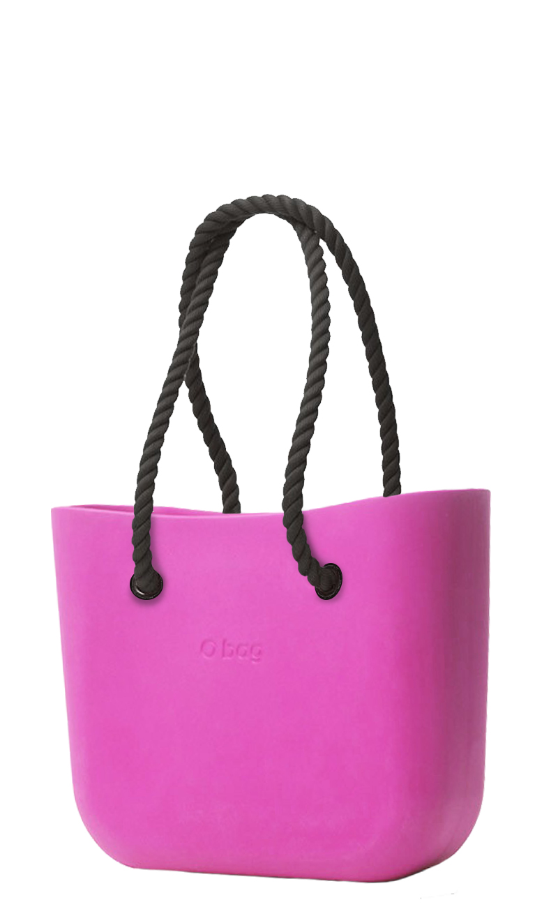 O bag  pink handbag Violetto with long black strings