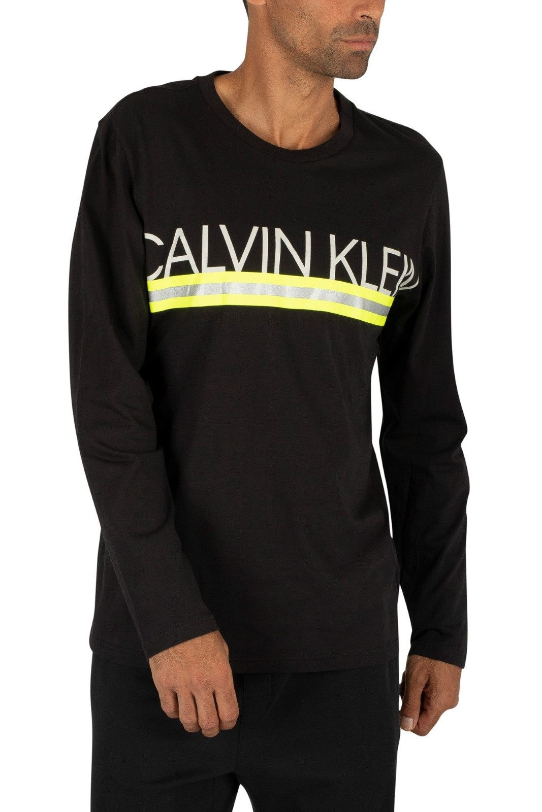 Calvin Klein black men´s t-shirt L/S Crew Neck with logo