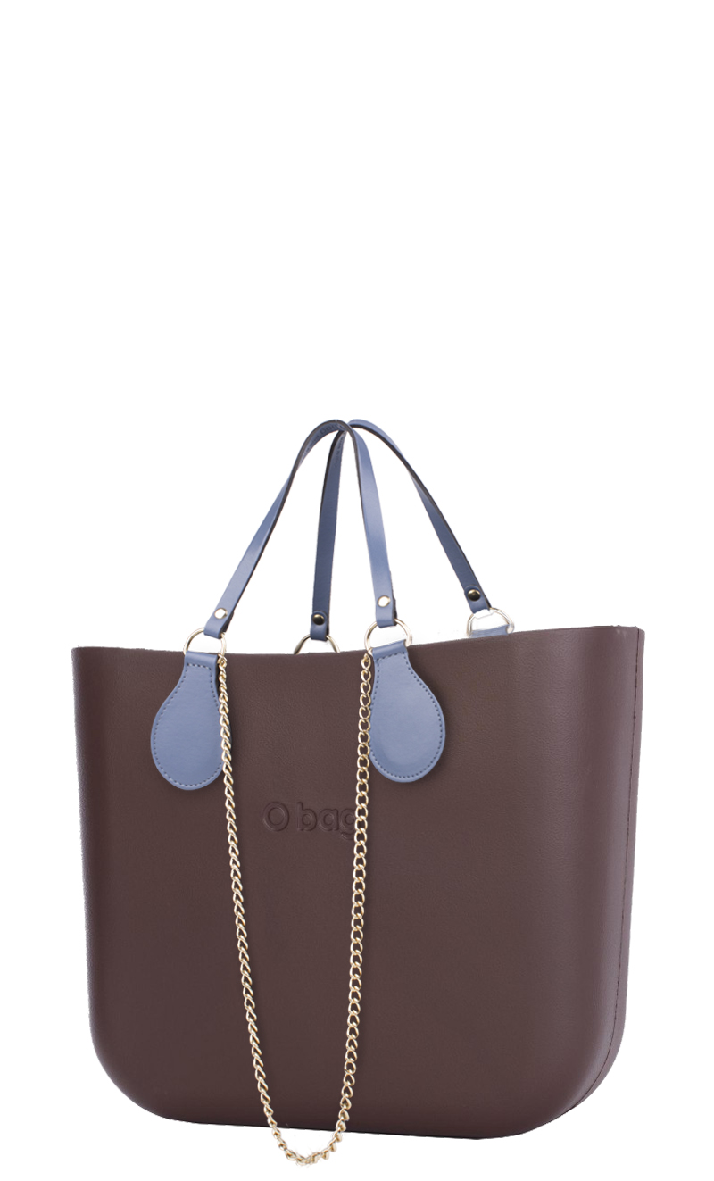 O bag  brown handbag Chocolate with chain handle and blue leatherette