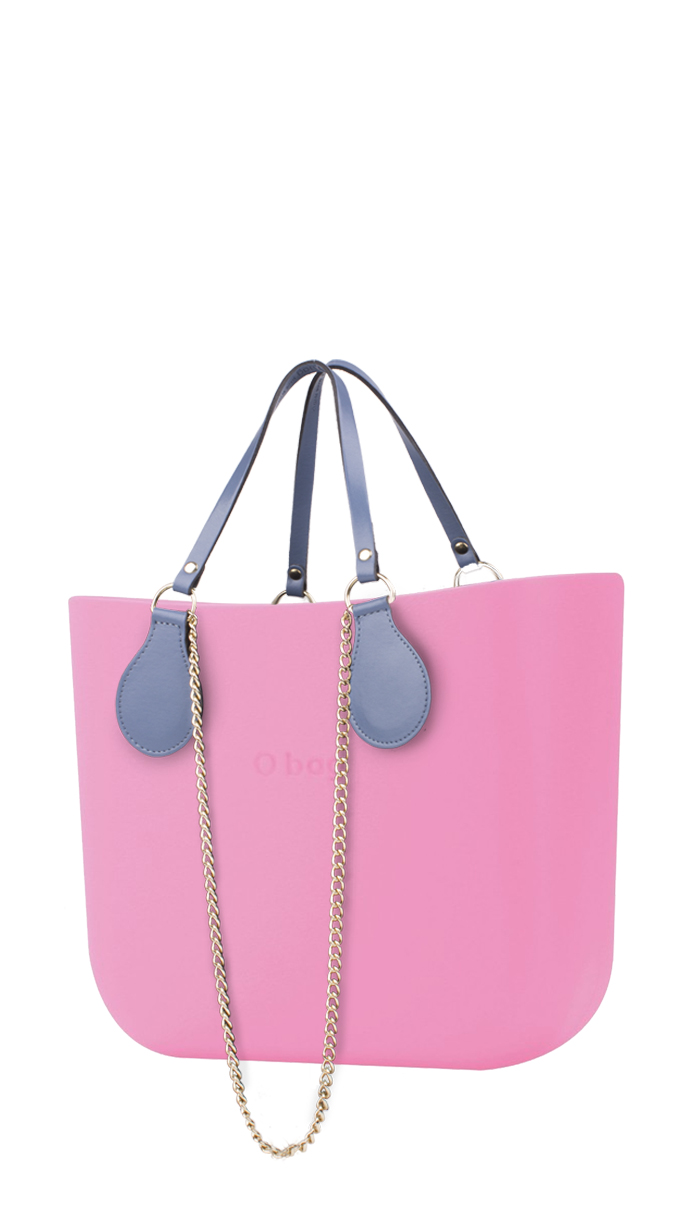 O bag  pink handbag MINI Pink with chain handle and blue leatherette