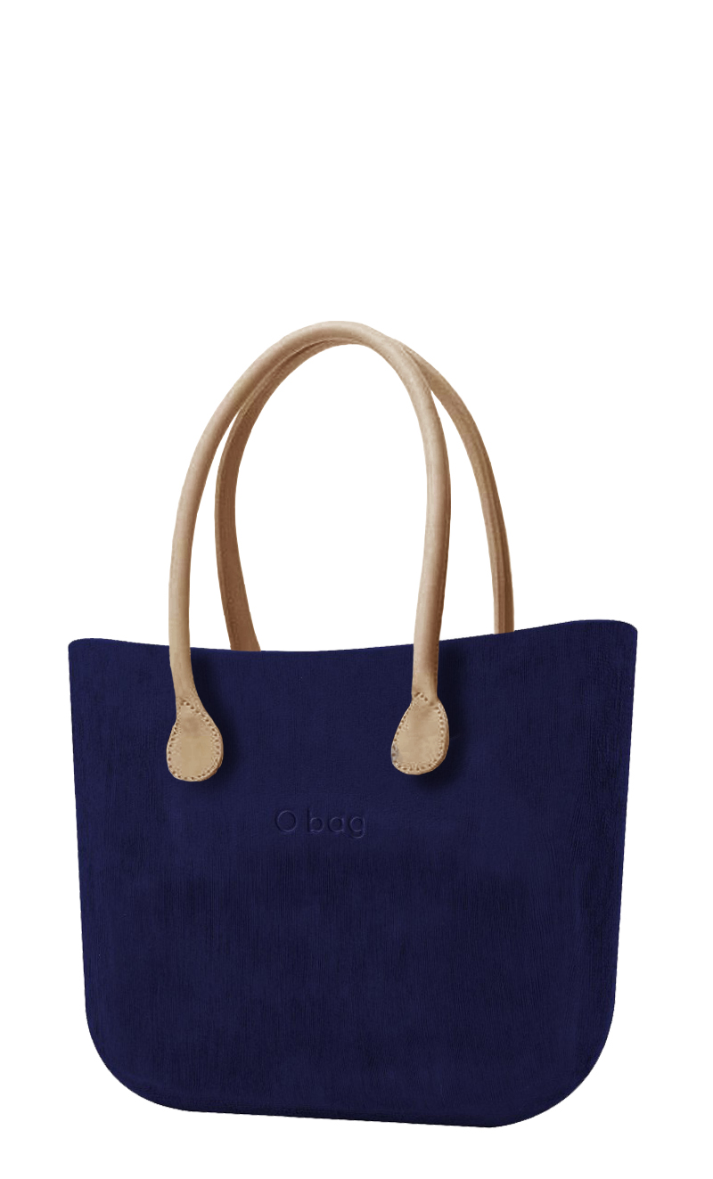 O bag  blue handbag Brush Iris with long leatherette straps natural