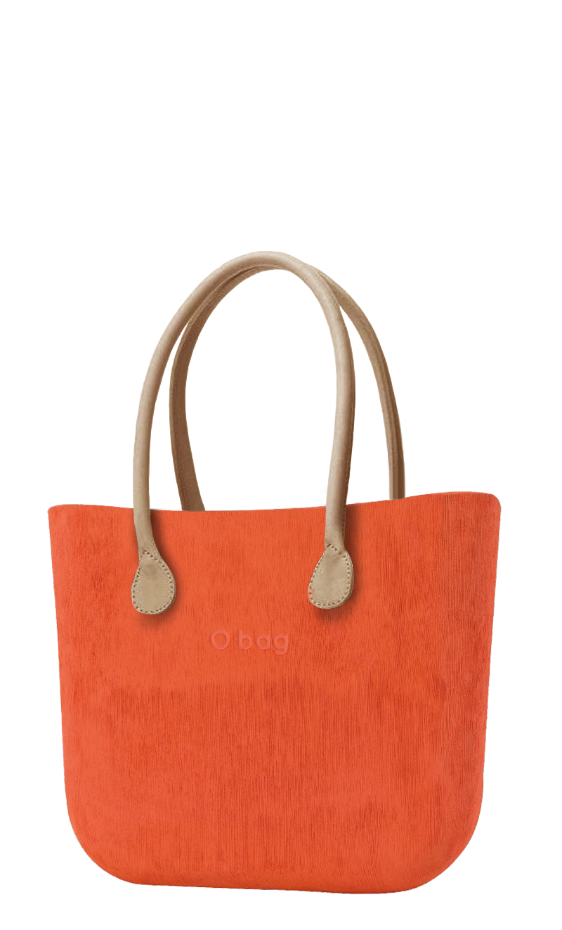 O bag  orange handbag Brush Arancione with long leatherette straps natural