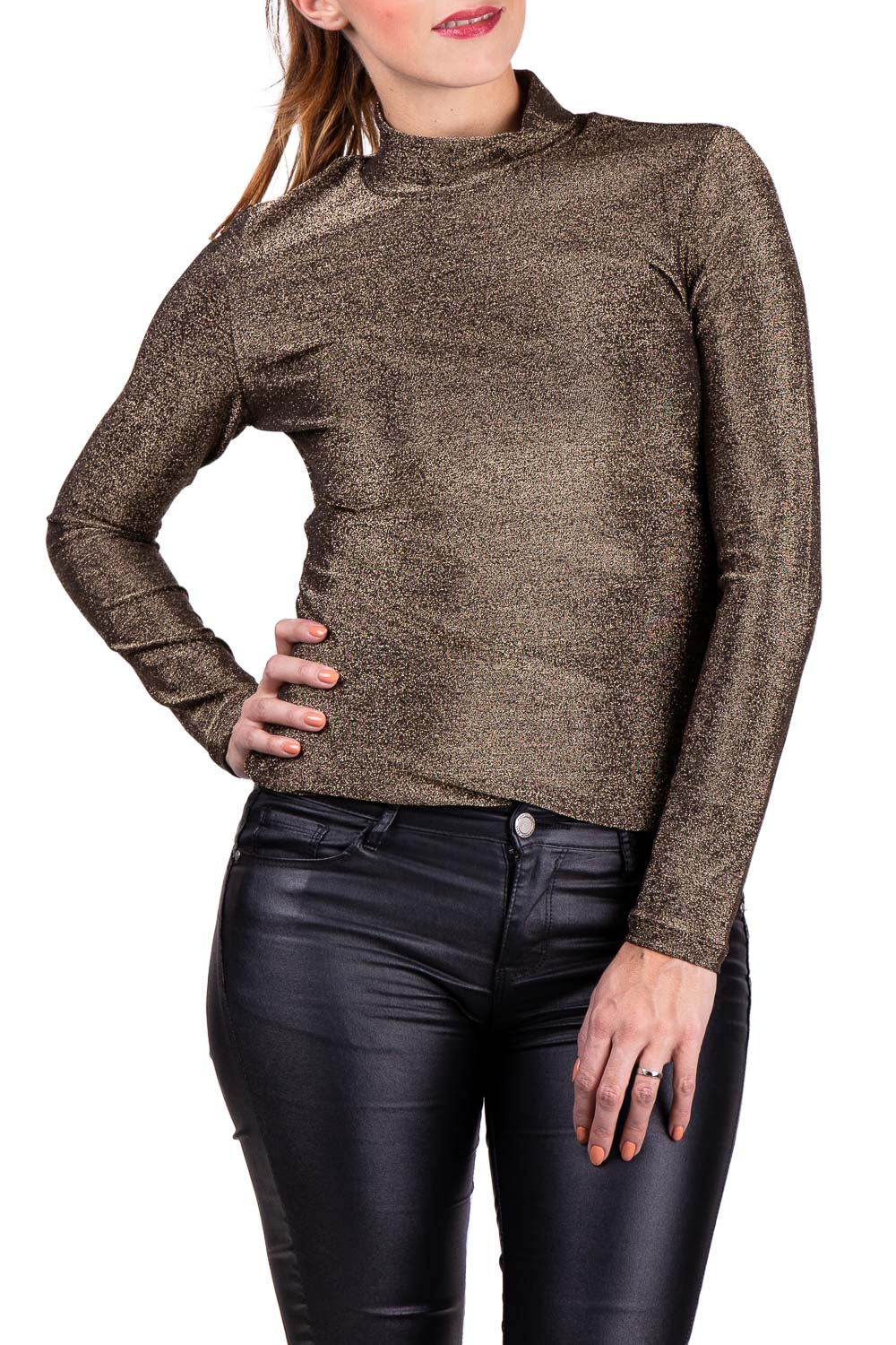 Anany Gold Glittering Polo Neck Sweater T-shirt Leganés Dorado