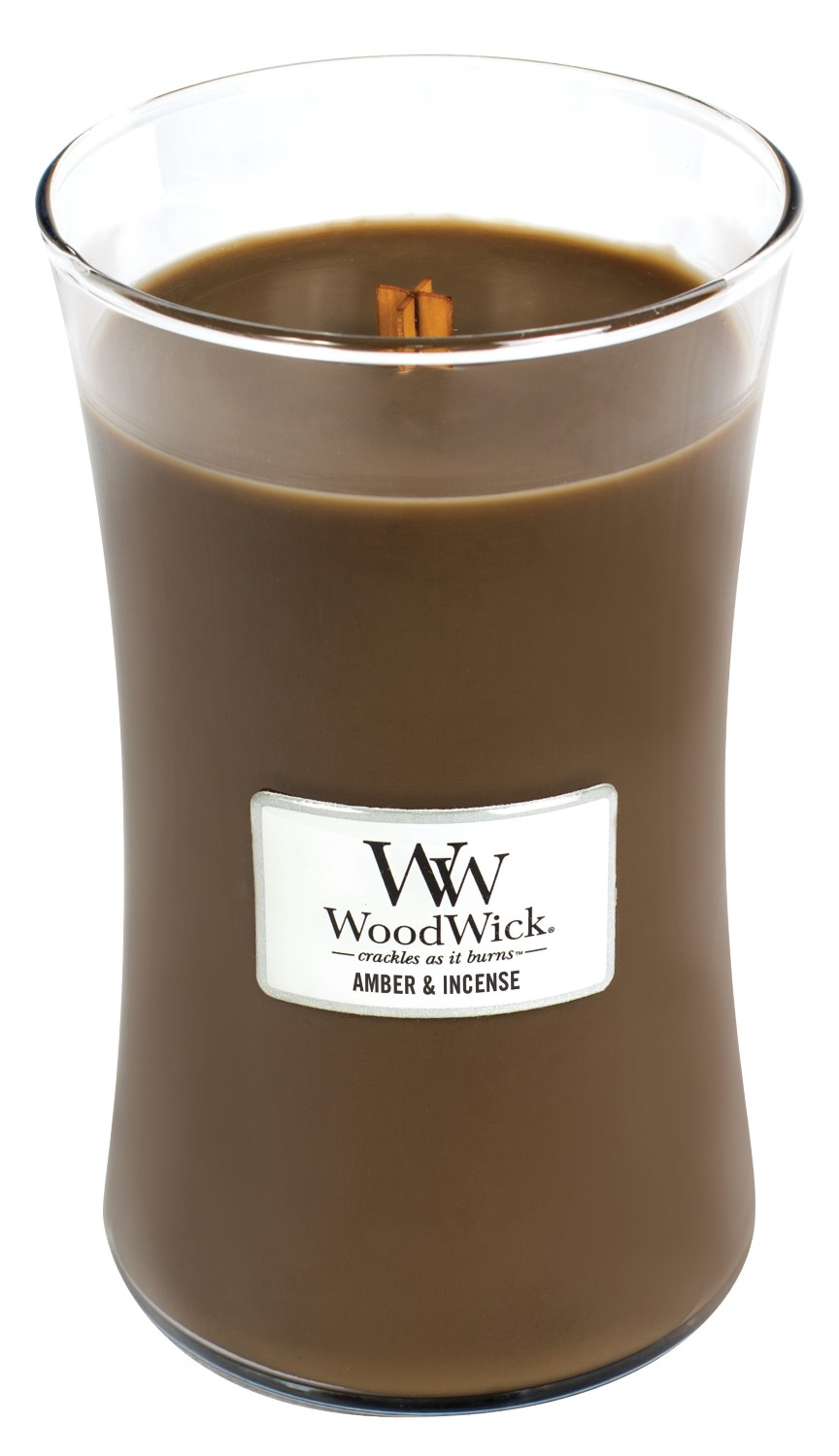 WoodWick brown fragrant candle Amber & Incense large vase