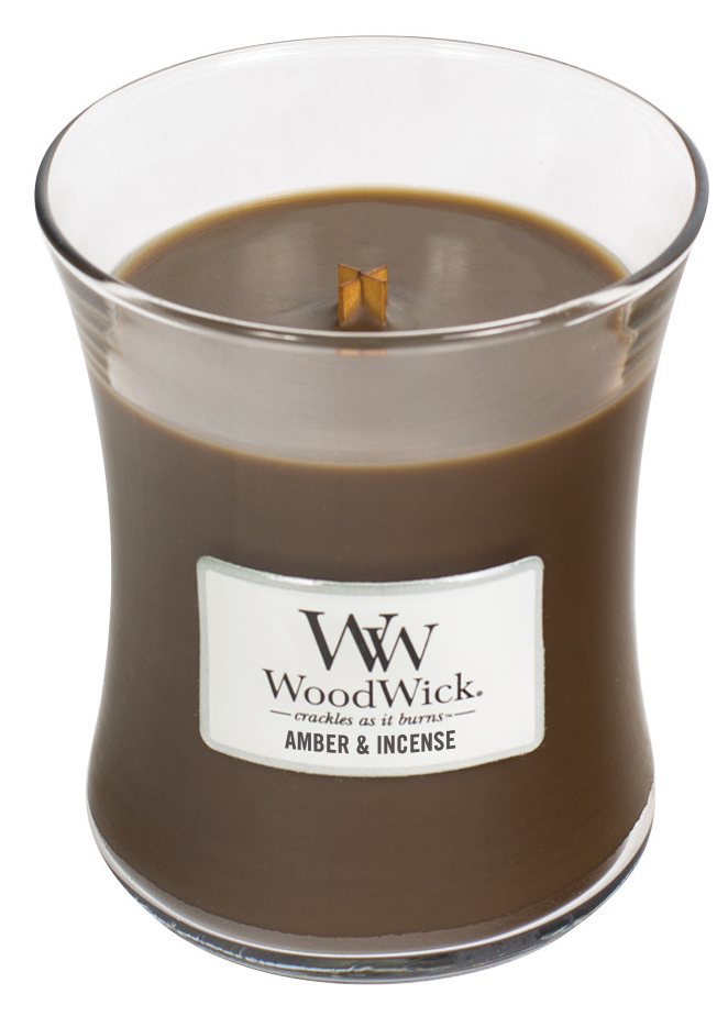 WoodWick brown fragrant candle Amber & Incense medium vase