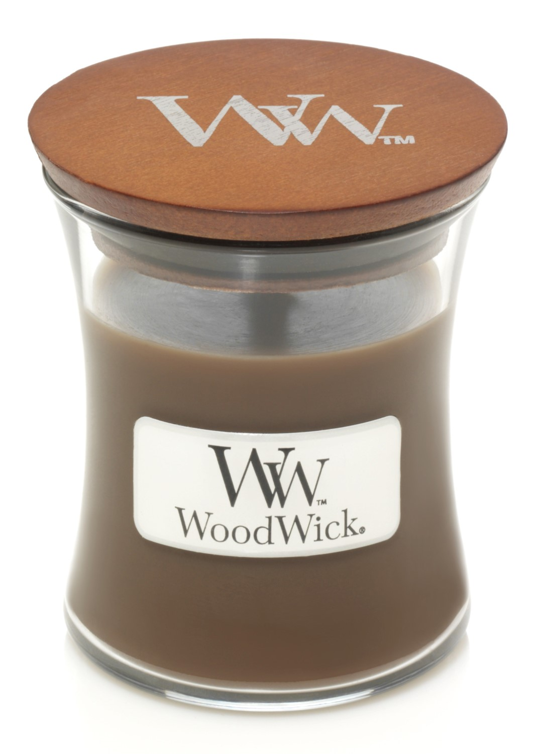 WoodWick brown fragrant candle Amber & Incense small vase