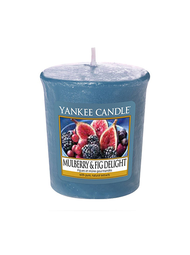 Yankee Candle blue votive fragrant candle Mulberry&Fig Delight