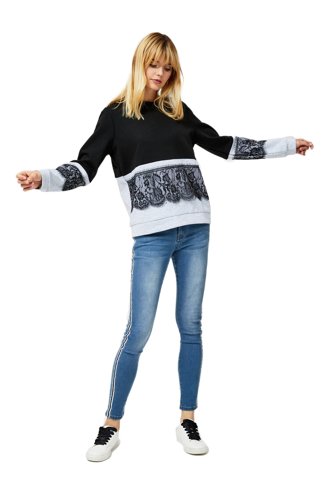 Moodo Black-and-Grey Sweatshirt with a Lace