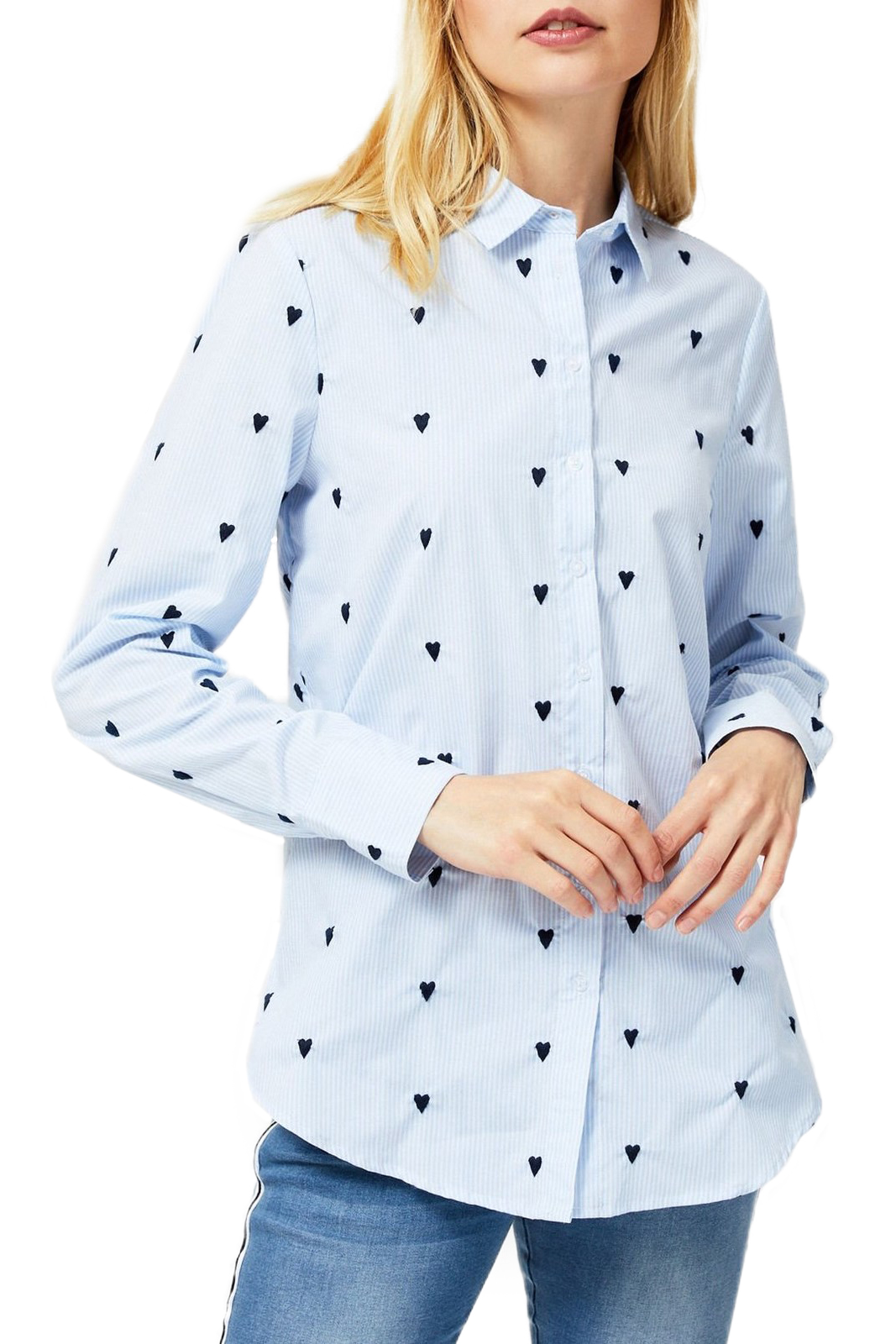 Moodo Light Blue Shirt with Hearts
