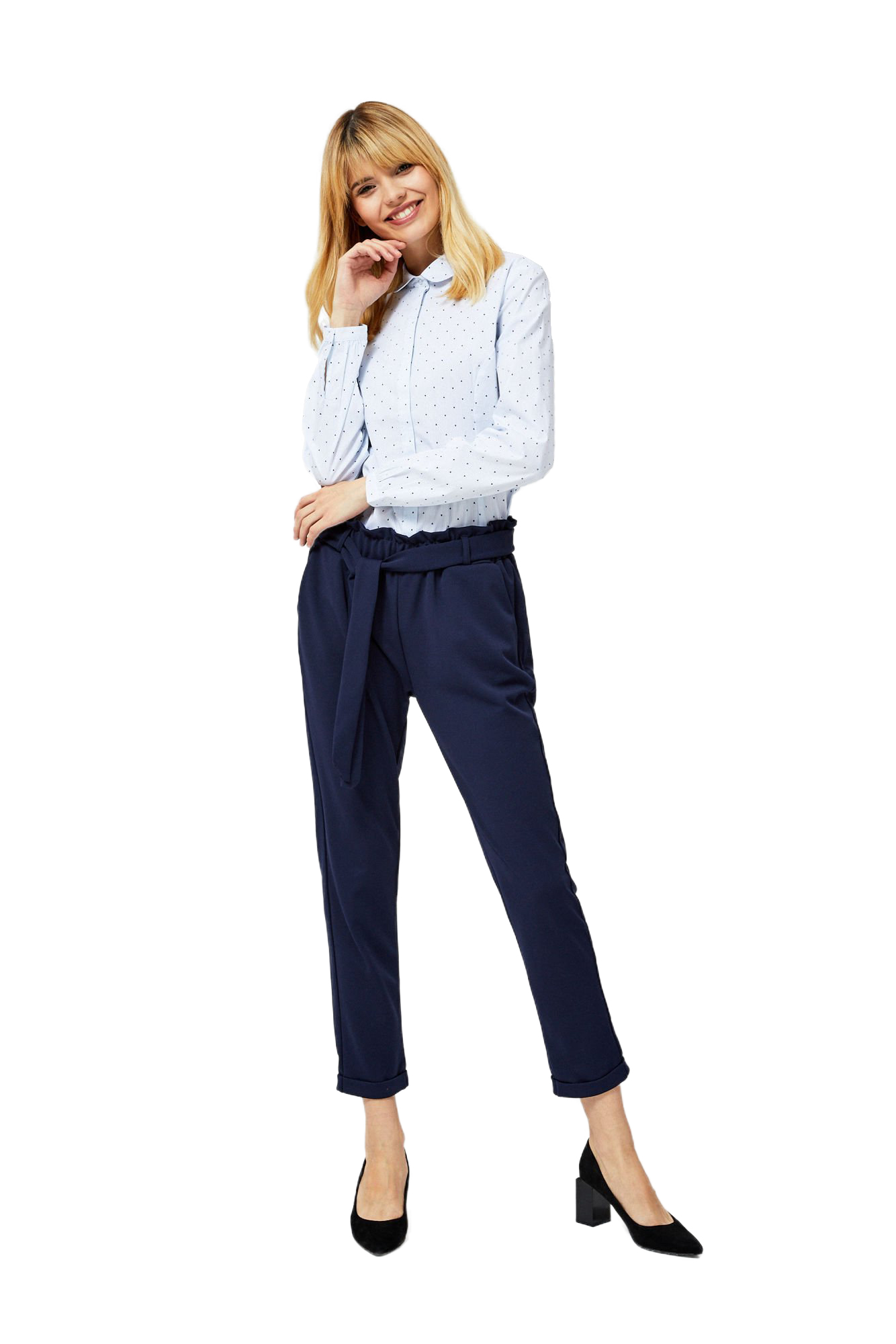 Moodo Striped Women's Shirt with a Tie and Small Triangles