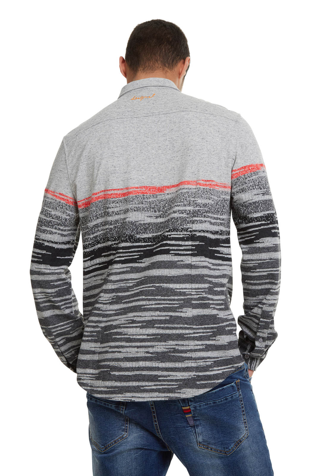 Desigual Grey Warm Knitwear Shirt Camilo