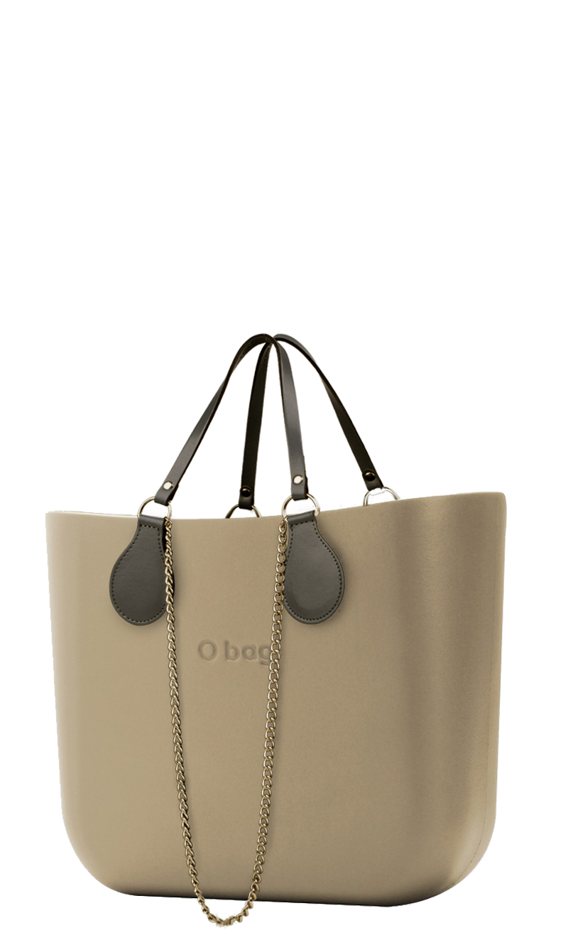O bag Handbag Sabbia with Chain Handles and Khaki Leatherette