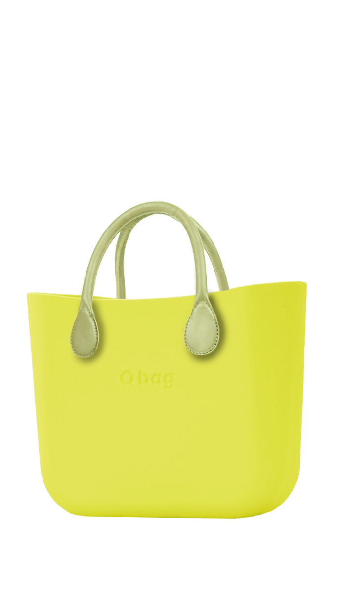 O bag Handbag MINI Lime with Short Lime Handles