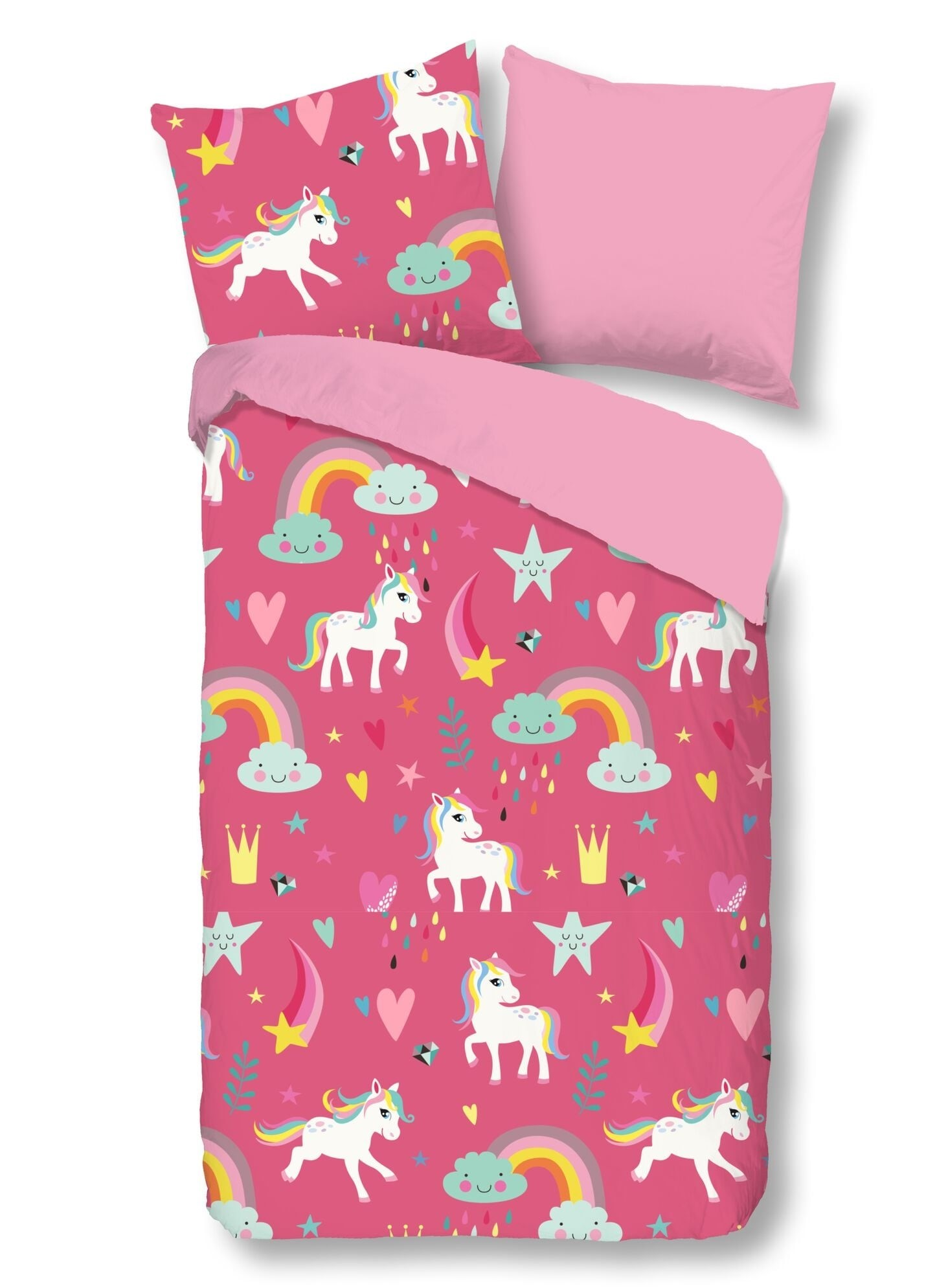 Home pink double-sided single bed bed linen Good Morning Unicorn 140x200cm