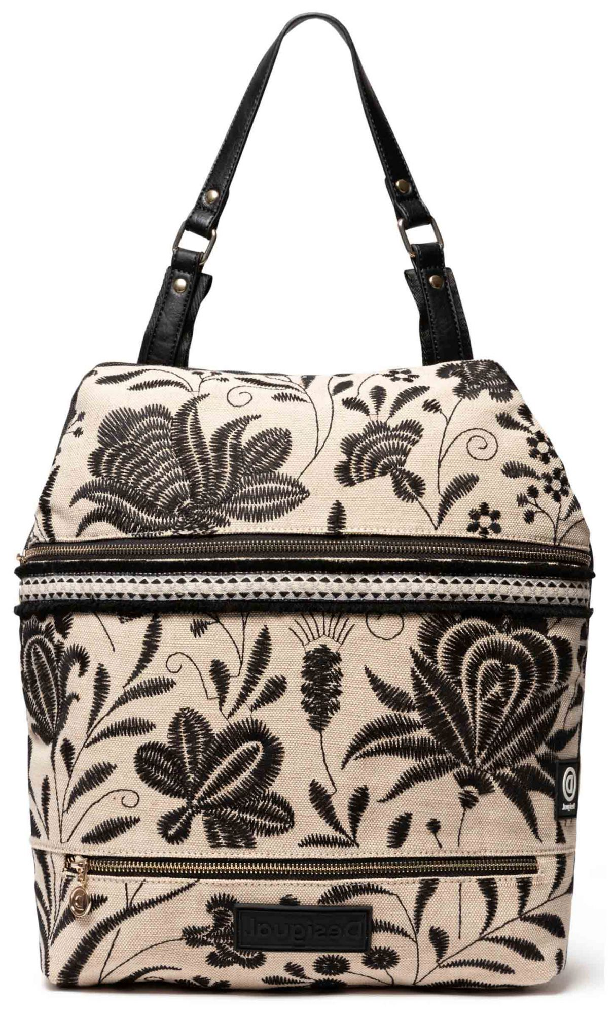 Desigual Black-and-Beige Backpack Back Maui Olten with embroideries
