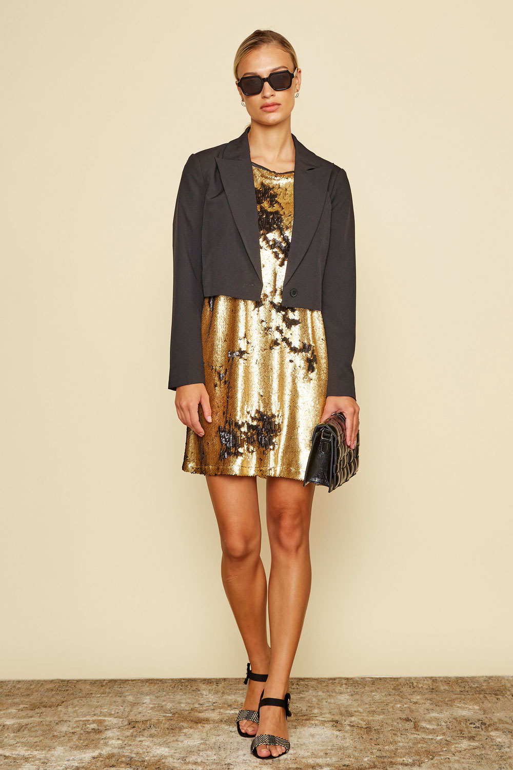 Simpo Black and Gold Sequined Flash Dress