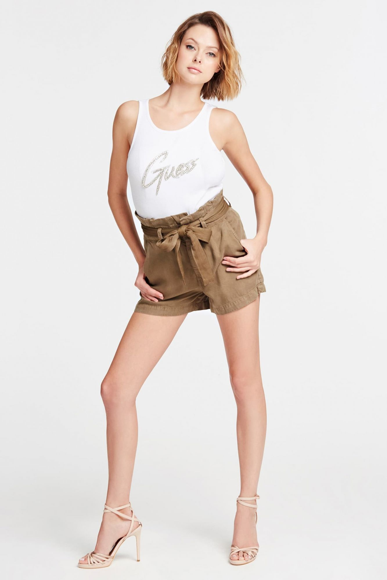 Guess white top Front Logo Tank Top