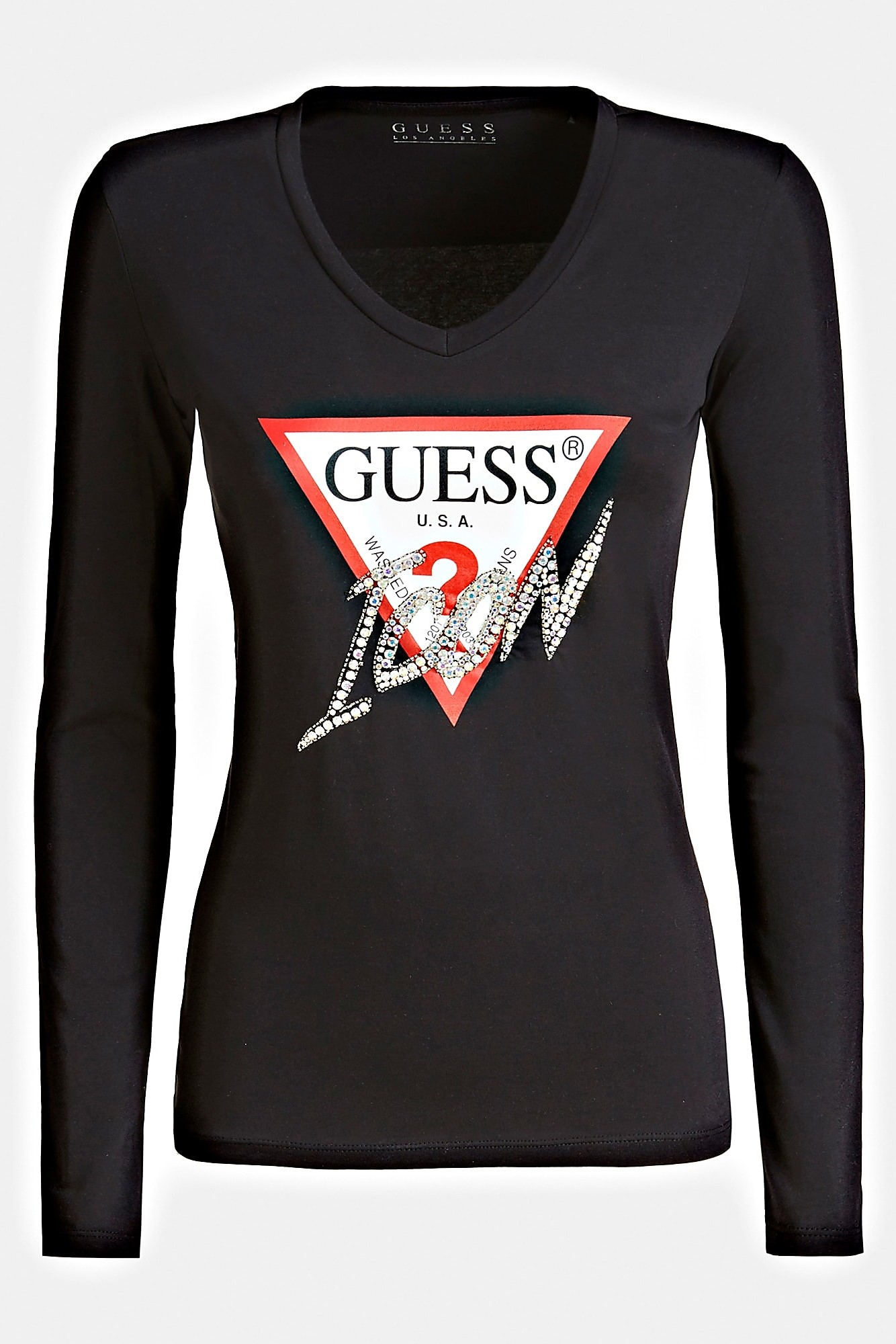 guess black t shirt icon logo t shirt women s t shirts tops differenta com guess black t shirt icon logo t shirt