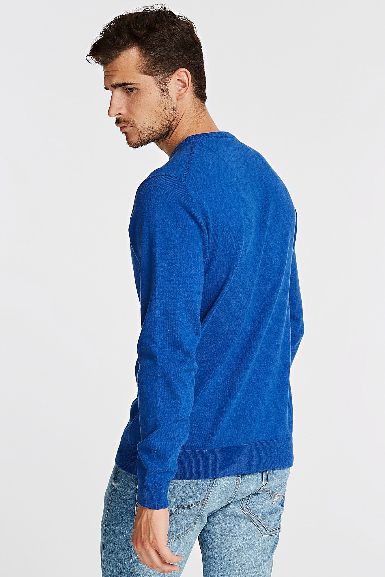 Guess Blue Men's Triangle Logo Sweater