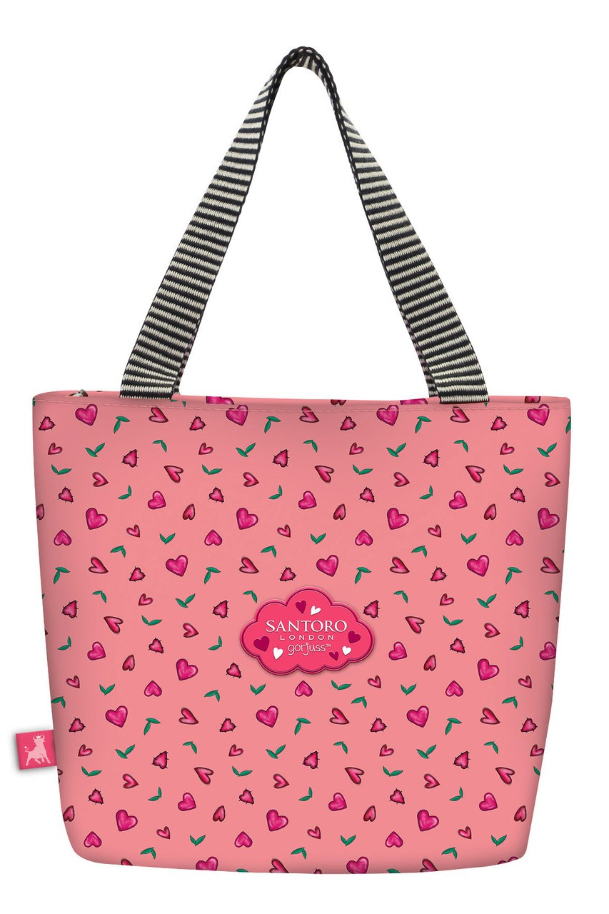 Santoro Red-and-Pink Lunch Bag Gorjuss Sparkle&Bloom Love Grows