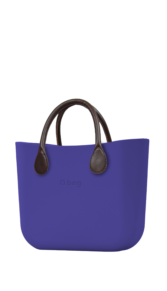 O bag  blue handbag Iris with short brown leatherette straps